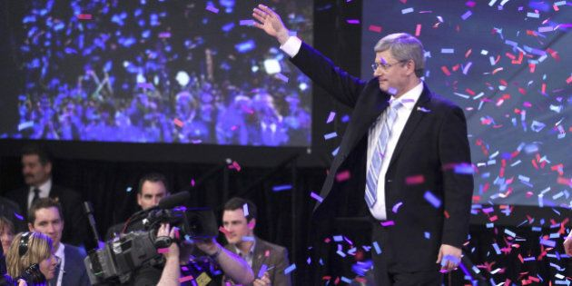 CALGARY, CANADA - MAY 2: Prime Minister Stephen Harper celebrates his majority government win in the...
