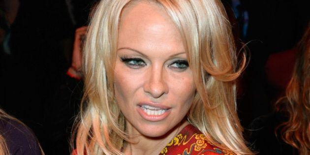 PARIS, FRANCE - SEPTEMBER 28: Pamela Anderson attends the Vivienne Westwood show as part of the Paris...