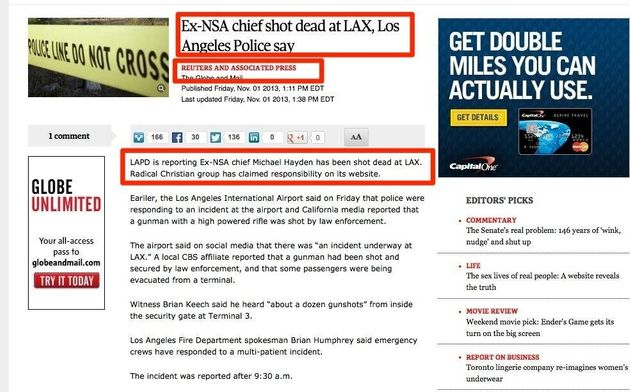 LAX Shooting Hoax Catches Globe And Mail, Other Outlets
