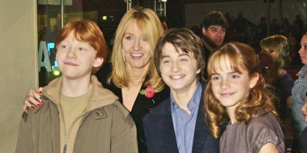 LONDON - NOVEMBER 04:  Writer J K Rowling with actors, Daniel Radcliffe, Rupert Grint and Emma Watson at the UK Film Premiere of 'Harry Potter And The Philosopher's Stone', held at the Odeon, Leicester Square on 4th November 2001, in London. (Photo by Dave Benett/Getty Images).
