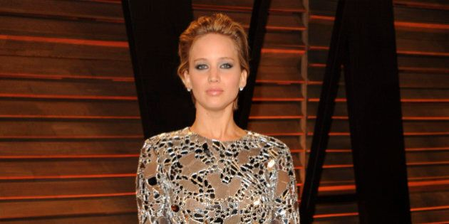 WEST HOLLYWOOD, CA - MARCH 03:  Jennifer Lawrence attends the 2014 Vanity Fair Oscar Party hosted by Graydon Carter on March 3, 2014 in West Hollywood, California.  (Photo by Jon Kopaloff/FilmMagic)
