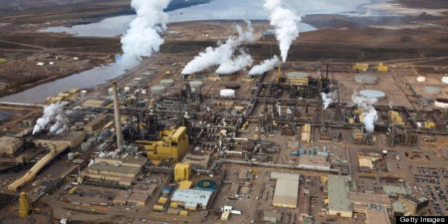 A large oil refinery along the Athabasca River in Alberta's Oilsands. Fort McMurray,