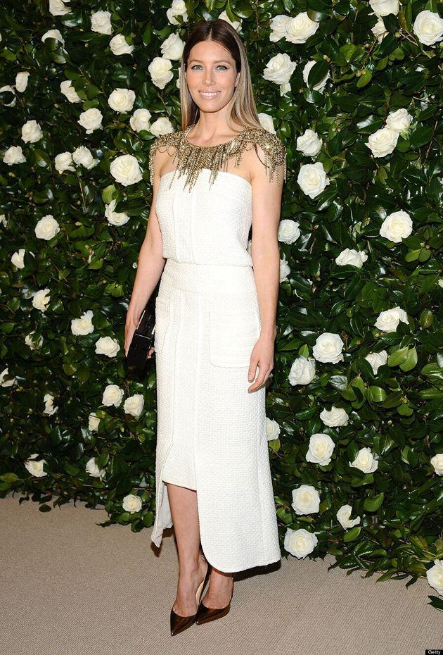 Jessica Biel Gets Into Holiday Spirit In Festive White Dress