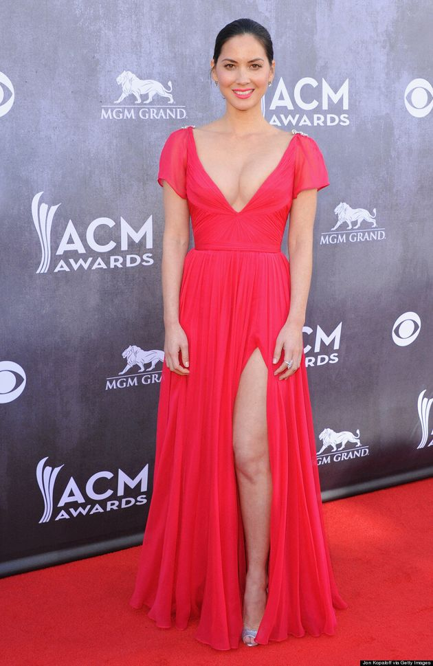 Olivia Munn Almost Busts Out Of ACM Awards Dress!
