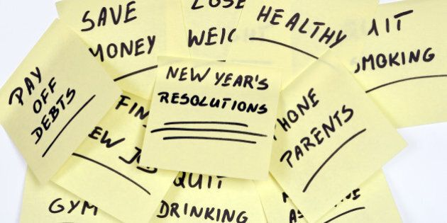 lots of New Year's Resolutions on yellow pieces of