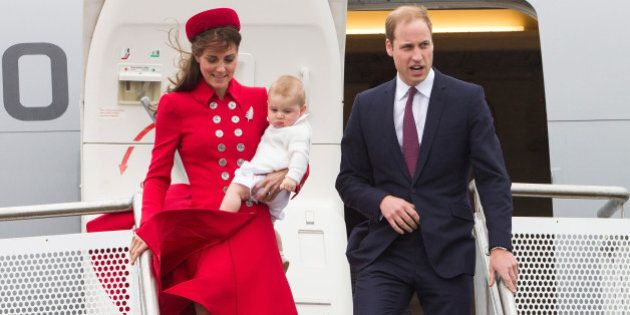 The Duke and Duchess of Cambridge with Prince George arrive at Wellington Military Terminal, Wellington, New Zealand, Monday, April 07, 2014.  Credit:SNPA / David Rowland