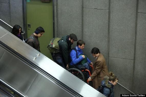 Justin Trudeau Carries Man In Wheelchair Down Stairs