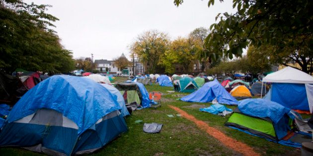 A general view of the tent city in Oppenheimer Park in Vancouver October 15, 2014. Dozens of homeless...
