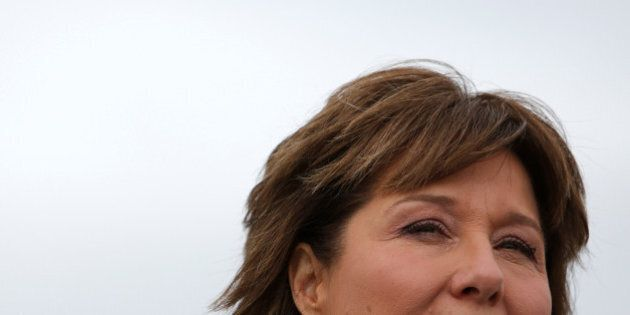 British Columbia Premier Christy Clark addresses the media during a campaign stop at Vancouver International...