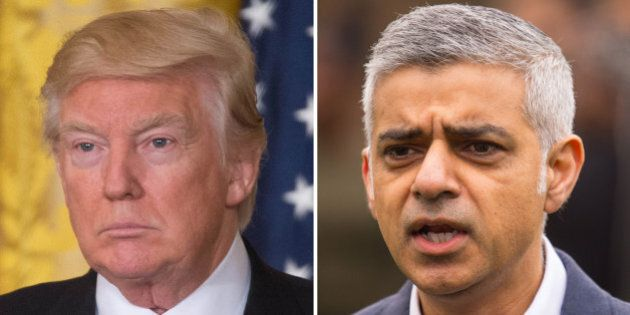 File photos of Donald Trump (left) and Sadiq Khan, who said Mr Trump's