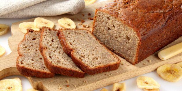 Freshly baked loaf of banana bread