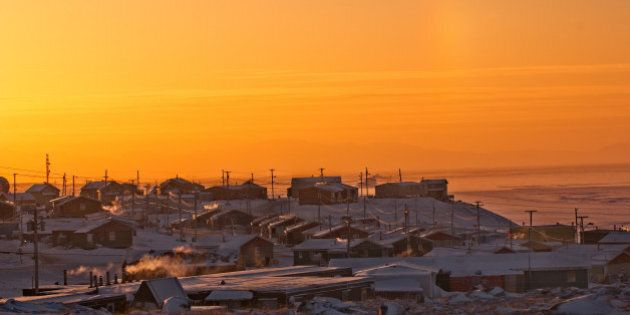 Pond Inlet, Nunavut, Canada, Inuit community Baffin Island. Sunset in Winter, good copy