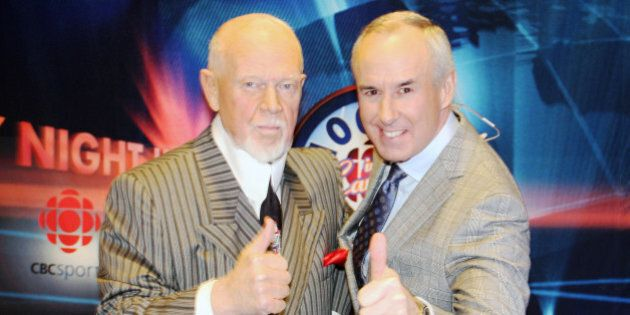 WINNIPEG, CANADA - FEBRUARY 15: (L-R) Don Cherry and Ron MacLean of CBC's Hockey Night In Canada give...