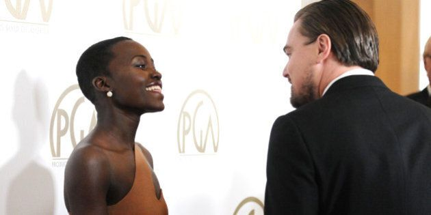 BEVERLY HILLS, CA - JANUARY 19: Actress Lupita Nyong'o and actor Leonardo DiCaprio attend the 25th annual...