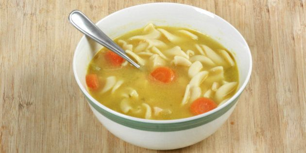 Chicken noodle soup on cutting