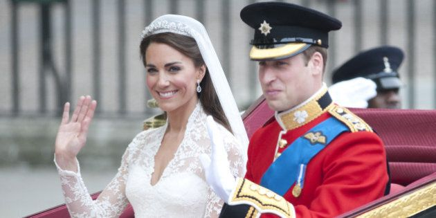 Catherine, Duchess Of Cambridge And Prince William Start Their Carriage Ride Back To Buckingham Palace...