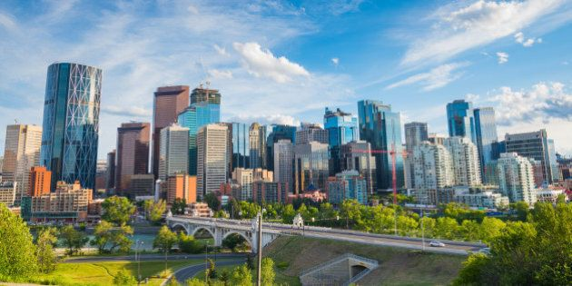 Summertime cityscape image of downtown Calgary, Alberta,