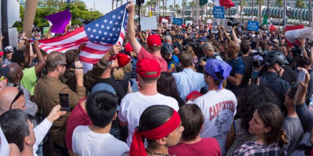 San Diego, California, USA - May 27, 2016: Tensions rise as anti-Trump protesters meet Trump supporters...