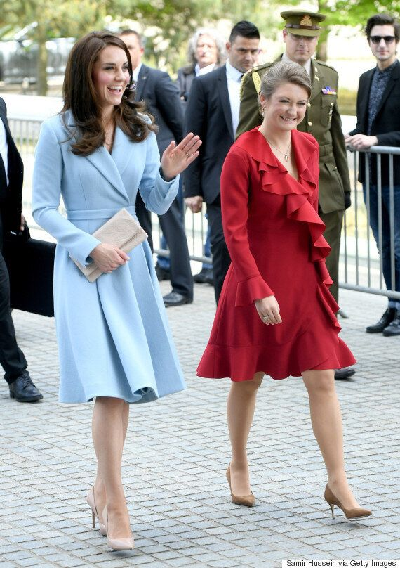 Kate Middleton Charms In Sky Blue As She Meets Princess Stéphanie In