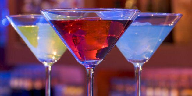 cocktail drinks on a bar