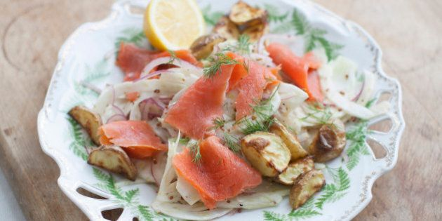 This March 31, 2014 photo shows a shaved fennel and smoked salmon salad in Concord, N.H. (AP Photo/Matthew Mead)