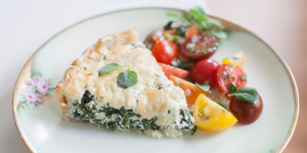 This April 7, 2014 photo shows a ricotta spinach tart in Concord, N.H. (AP Photo/Matthew Mead)