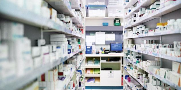 Shot of shelves stocked with various medicinal products in a