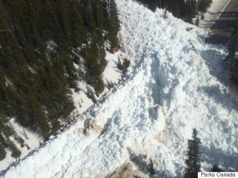 Avalanche Near Lake Louise Buries Icefield Parkway Under Massive Wall Of