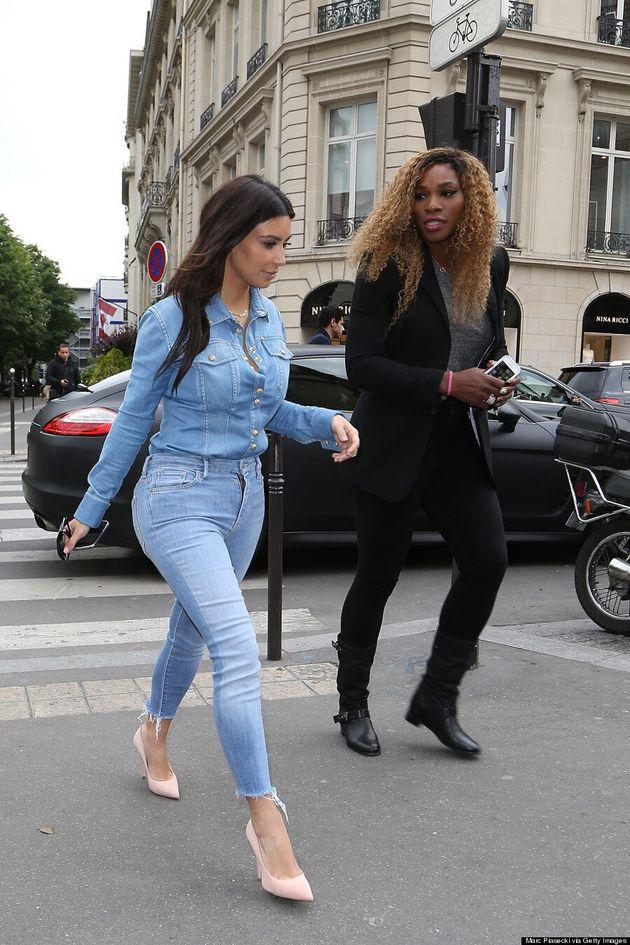 Kim Kardashian Wears Canadian Tuxedo In Paris