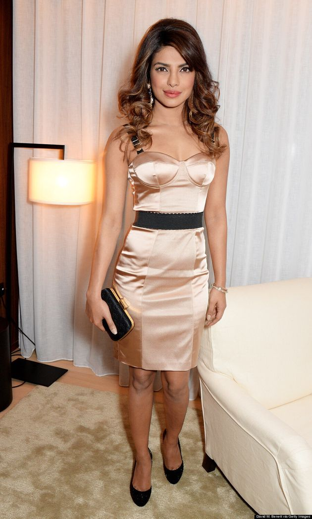 Priyanka Chopra Looks Gorgeous In Sexy Satin Bustier Dress