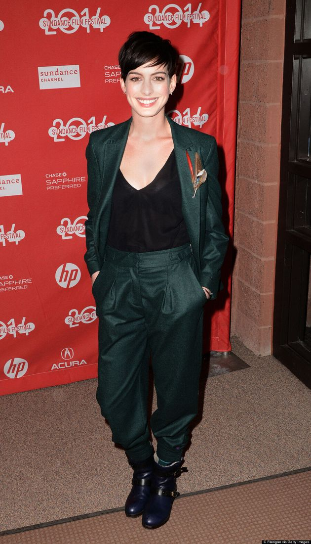 Anne Hathaway Wears The Pants At 2014 Sundance Film Festival