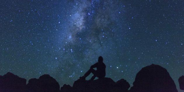USA, Hawaii, The Big Island, Milky Way from Mauna Kea Observatory