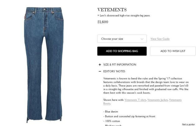 People Have Questions About Vetements-Levis' Butt-Revealing
