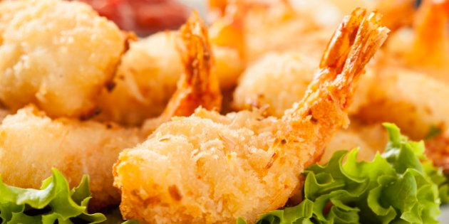 Fried Organic Coconut Shrimp with Cocktail