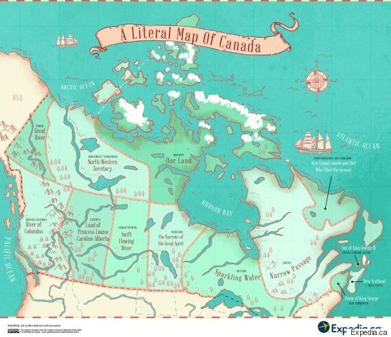 Map Reveals Name Origins Of Canada's Provinces And ... on saskatchewan map, ontario map, labrador canada map, north america map, quebec map, calgary canada map, canada alberta map, eastern canada map, blank canada map, nova scotia map, british columbia map, canada time zones, new brunswick map, united states map, europe map, canada map outline, usa province map, alaska map, canada cities map, prince edward island map,