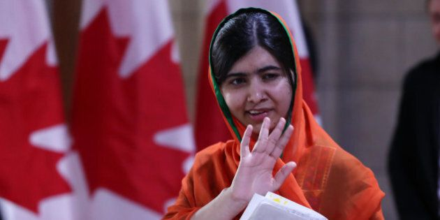 Pakistani Nobel Peace Laureate Malala Yousafzai leaves Parliament hill after receiving an honorary Canadian...