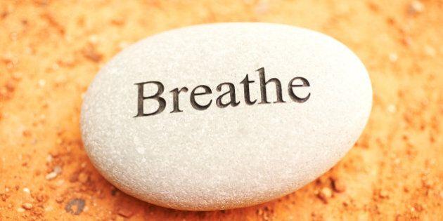 Rock with breathe written on