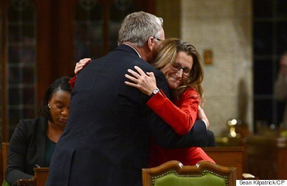 Chrystia Freeland, Ex-Trade Minister Ed Fast Hug In House Of Commons To Mark CETA