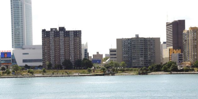 The City of Windsor Ontario in Canada across the river  from Detroit, Michigan