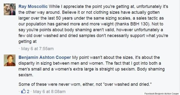 Man Gets Real On Facebook About Women's Sizing After Trying On Girlfriend's 'XL'