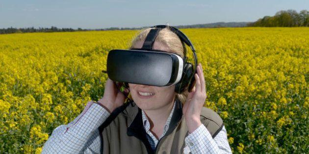 McDonald's Progressive Young Farmer Alice Partridge, 21, wears an Oculus Virtual Reality headset in rape...