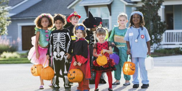 Multi-ethnic group of children 3-6 years old, wearing halloween