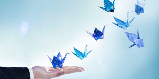 origami, cranes, blue, hand, sleeve, paper craft, studio background, floral print, checked print, dark blue, light blue