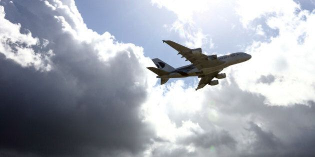 An Airbus SAS A380 passenger aircraft, operated by Malaysian Airline System Berhad, takes off from Heathrow airport in London, U.K., on Tuesday, March 29, 2016. Malaysian Airlines is the national air carrier of Malaysia operating jet services on a network of domestic and international destinations in four continents. Photographer: Chris Ratcliffe/Bloomberg via Getty Images