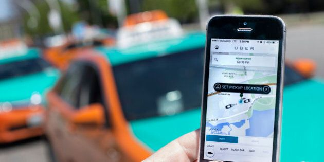 TORONTO, ON - MAY 14 -Photographed at The CNE, Toronto, Uber taxi service is a new way to travel around...