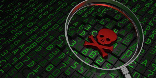 Malware, virus, ransomware, Red Skull laying on hex