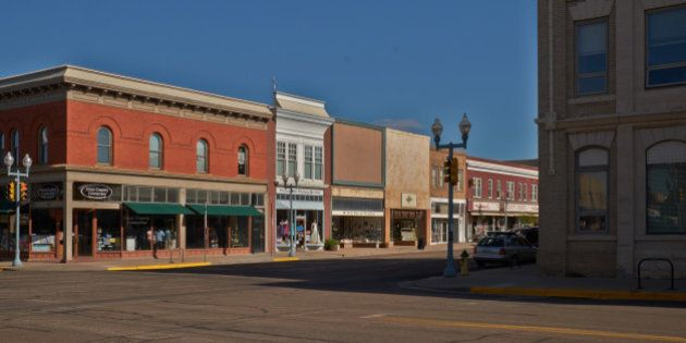 A morning view of the stores on main street in the small town of Laramie, Wyoming.
