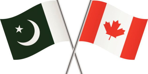 Canadian and Pakistan flags. Vector illustration.