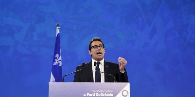 Parti Quebecois leader Pierre Karl Peladeau speaks after being elected during a ceremony at the convention...