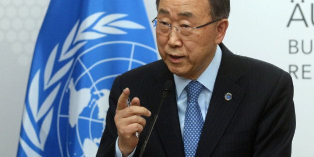 U.N. Secretary General Ban Ki-moon speaks during a press conference as part of a meeting with Austrian...
